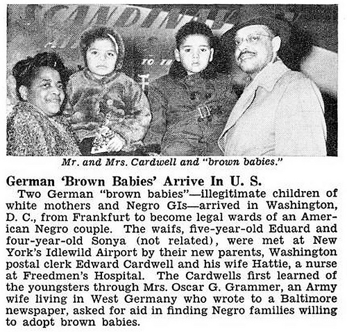 Two Brown Babies (Interracial Babies of War) Adopted by Edward Cardwell and Wife Hattie - Jet Magazine, January 29, 1953