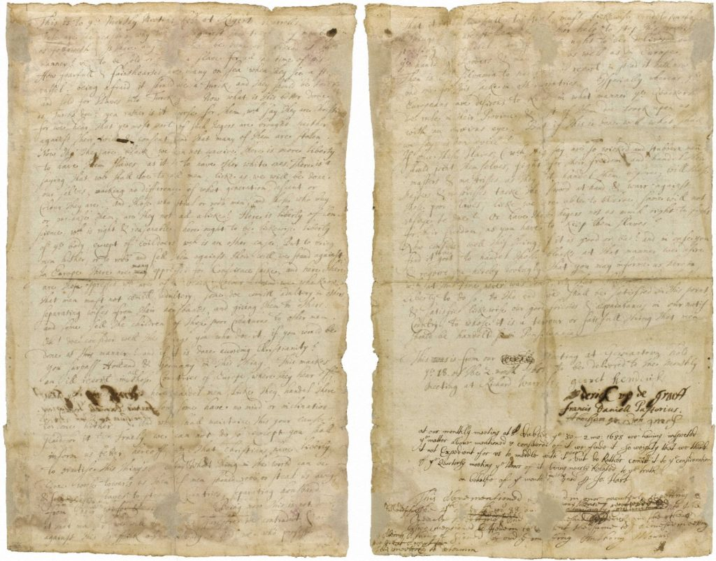 First Protest Against Slavery, Germantown, PA, 1688. Click on image for text.