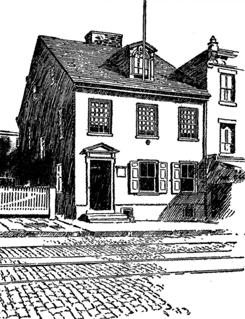 THONES KUNDERS' HOUSE' 5109 Germantown Avenue, Philadelphia PA, where the 1688 Petition Against Slavery was written. From Jenkins (1915)